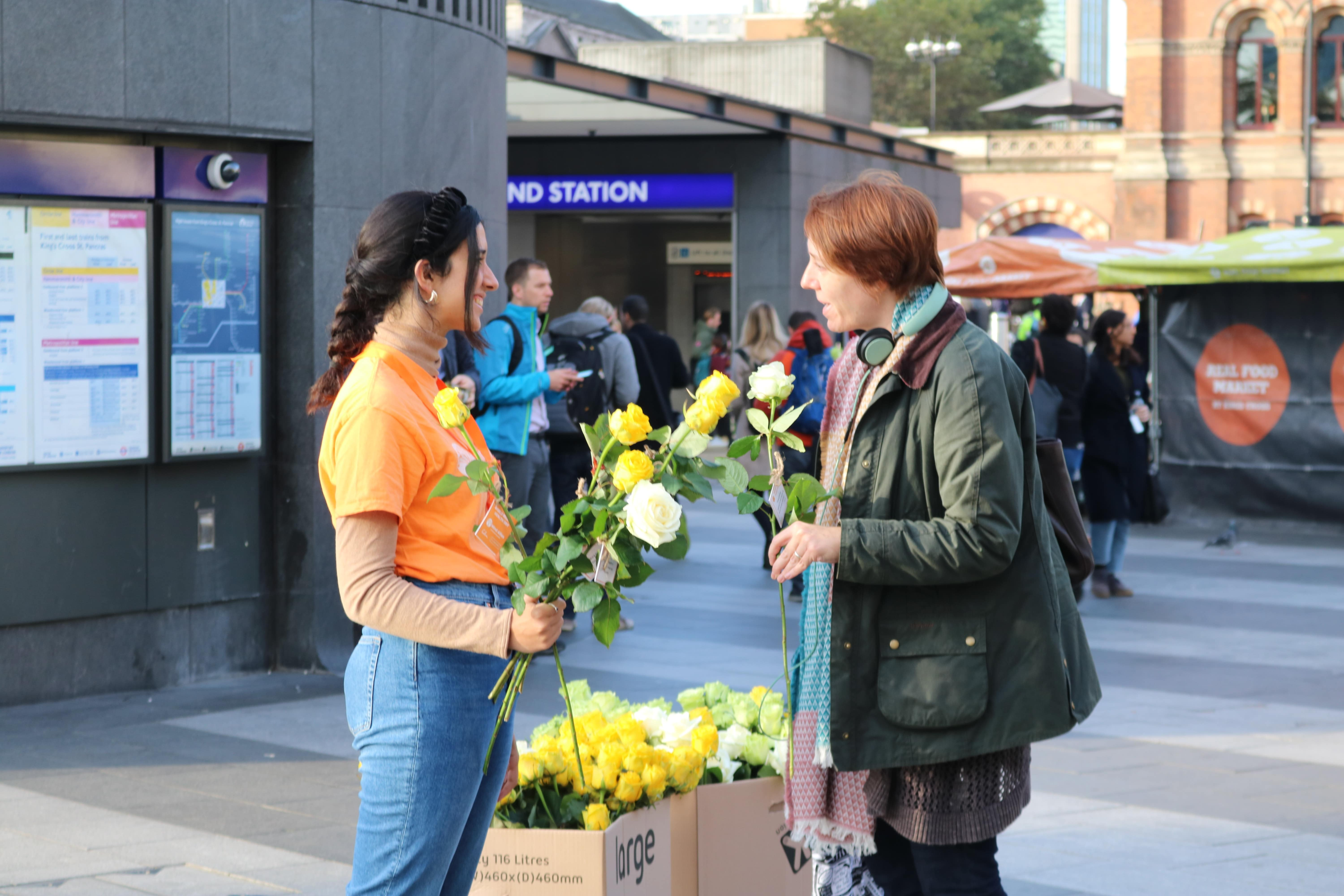 Mind Allies giving out roses